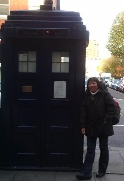 Linda Jew at the Earls Court TARDIS