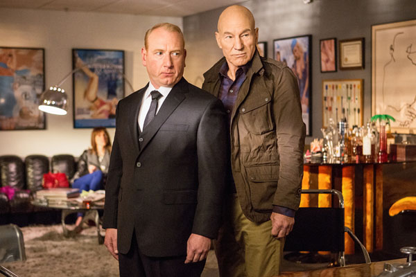 Blunt Talk: Adrian Scarborough as Harry Patrick Stewart as Walter Blunt