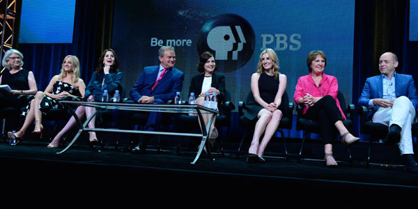 """Downton Abbey"" session at TCA Summer Press Tour 2015 Rebecca Eaton, Joanne Froggatt, Michelle Dockery, Hugh Bonneville, Elizabeth McGovern, Laura Carmichael, Penelope Wilton, Gareth Neame © Rahoul Ghose/PBS"