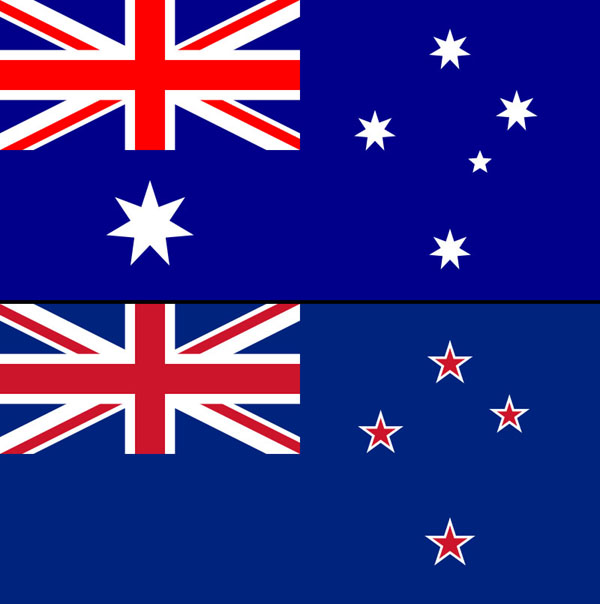Flags of AU and NZ